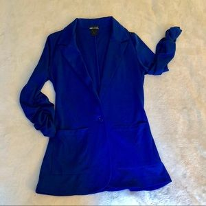 3/4 Ruched Sleeve Stretchy Royal Blue Blazer